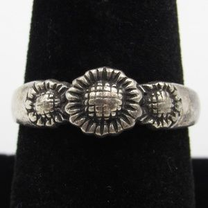 Size 8.75 Sterling Silver Rustic Sunflower Ring